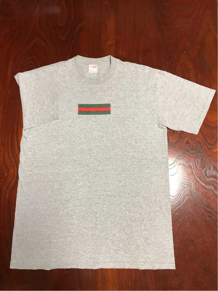 極美品 確実正規品 激レア つるタグ supreme gucci box logo tシャツ 灰
